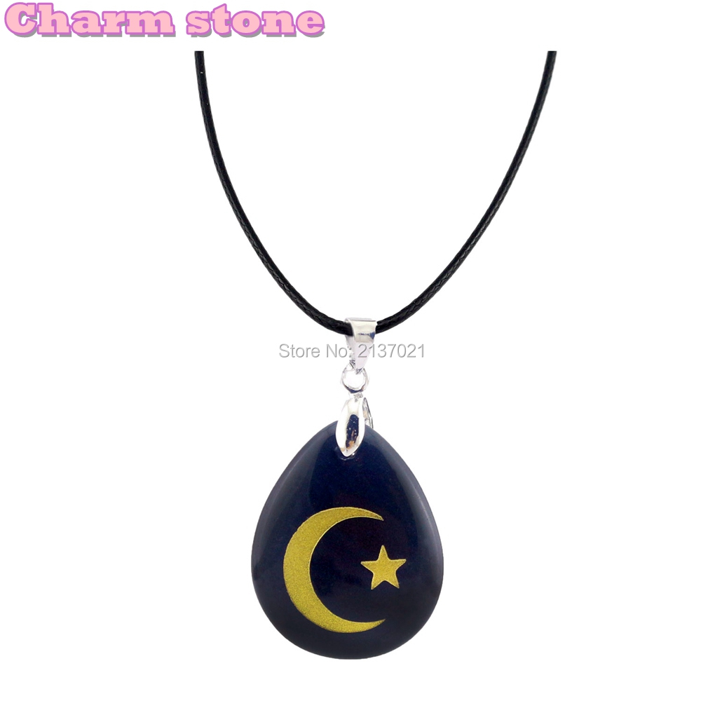Natural crystal Obsidian pendant Islam in jewelry Muslim moon star choker necklace Gold Energy stone 18inch