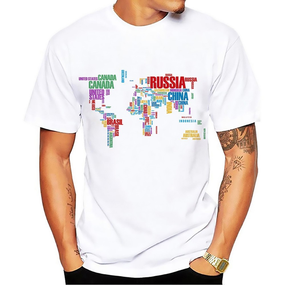 creative word cloud world map design tshirt men 2018 summer new white casual t shirt homme plus size no glue print t-shirt