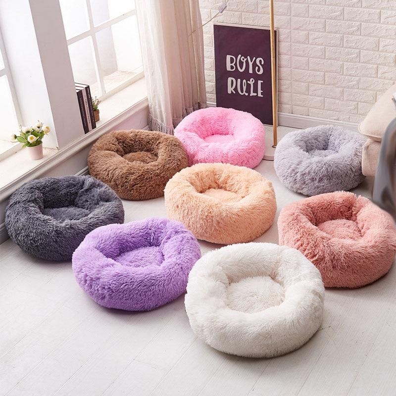 Круглая кровать для собаки моющаяся кровать для кота-любимца собака дышащий диван для отдыха для маленьких средних собак супер мягкие плюш...