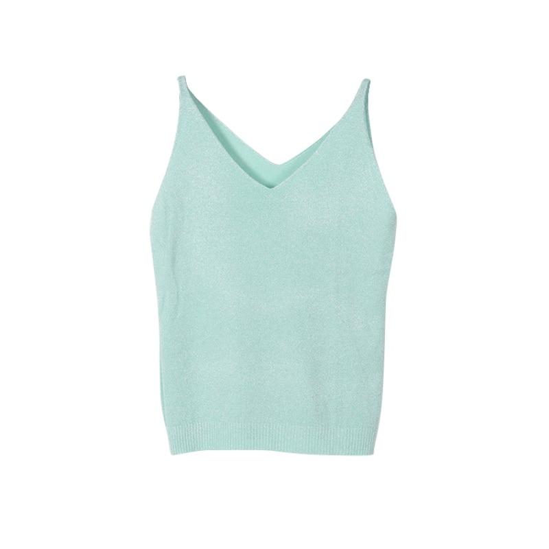 Женщины Моды Вязание Жилет Топ Без Рукавов V-образным Вырезом Блузка Повседневная Топы