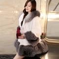 Inverno falso vison casaco de pele das mulheres quentes de espessura senhora gola de Pele De Raposa casaco jaqueta Moletom Com Capuz branco FS0346