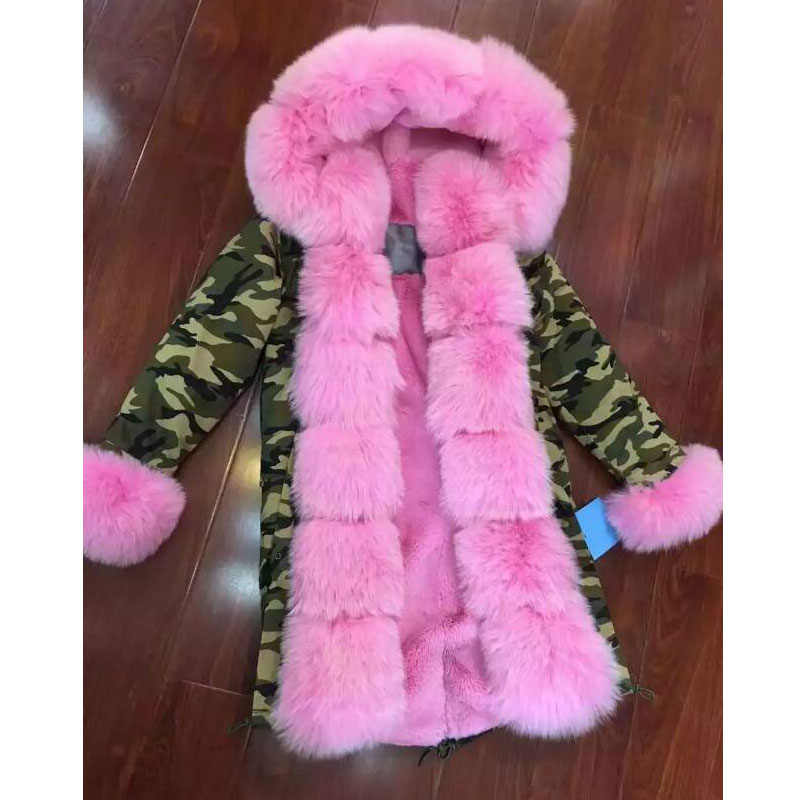 Camouflage jacket Pink fox fur hood with different lining faux fur lining Luxury coat