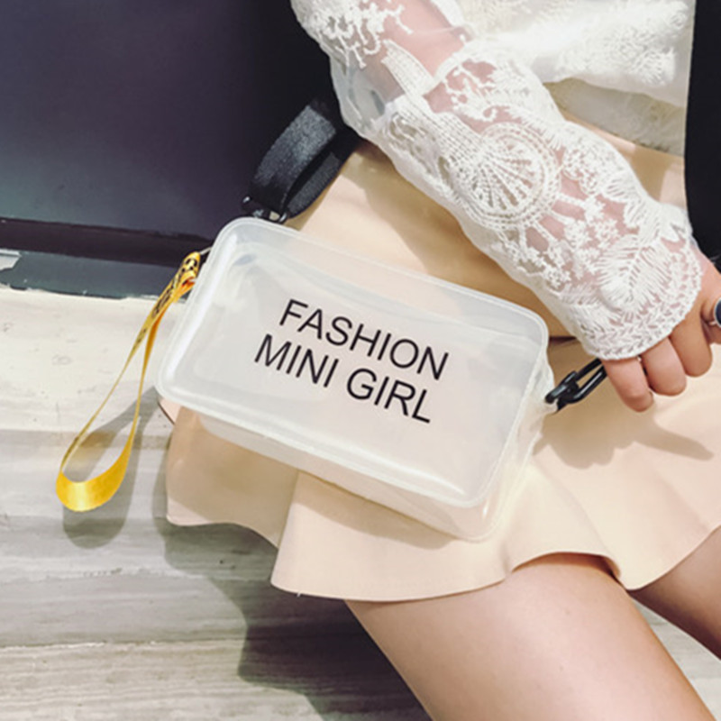 Fashion Summer Clear Women Shoulder Bags Female Transparent PVC Plastic Handbag Causal Width Strap Lady Crossbody Messenger Bag