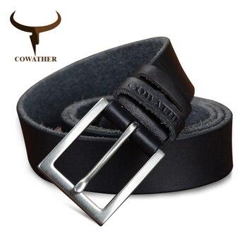 2b90ad4eae0 Op cowather 2017 cinturón de cuero de vaca de alta calidad genuina de vaca  cuero correas de los hombres para los hombres de moda pin hebilla de correa  ...