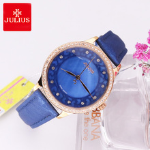 New Lady Woman Julius Wrist Watch Quartz Hours Best Fashion Dress Bracelet Girl Birthday Gift Leather Shell Hollow Heart 852