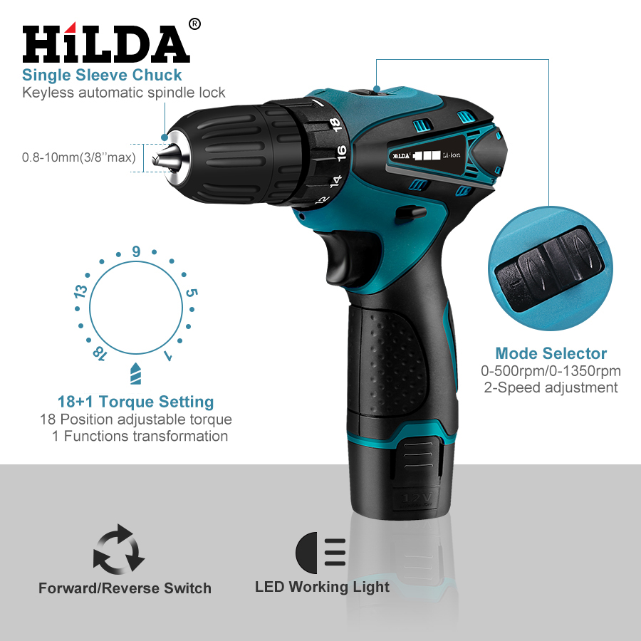 Image 5 - HILDA Electric Drill Cordless Screwdriver Drill Lithium Battery  Furadeira Cordless Screwdriver Power Tools With Plastic Case-in Electric Screwdrivers from Tools on