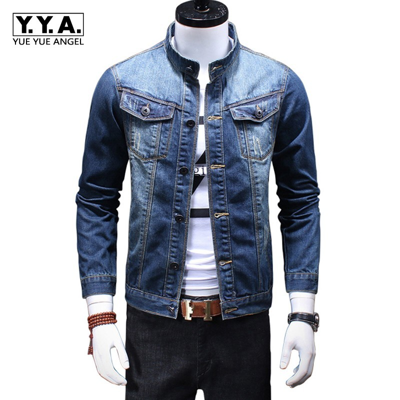 Classic Male Retro Washed Denim Stand Collar Casual Mens Jeans Jacket Trucker Biker Motorcycle Coat Slim Fit Outwear Plus Size