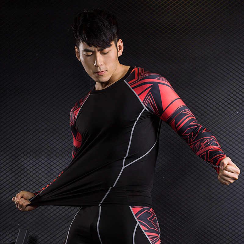 Леггинсы Фитнес компрессионная рубашка 2018 брендовый мужской спортивный костюм из 2 предметов Термобелье Базовый Слой MMA crossfit Футболка мужская