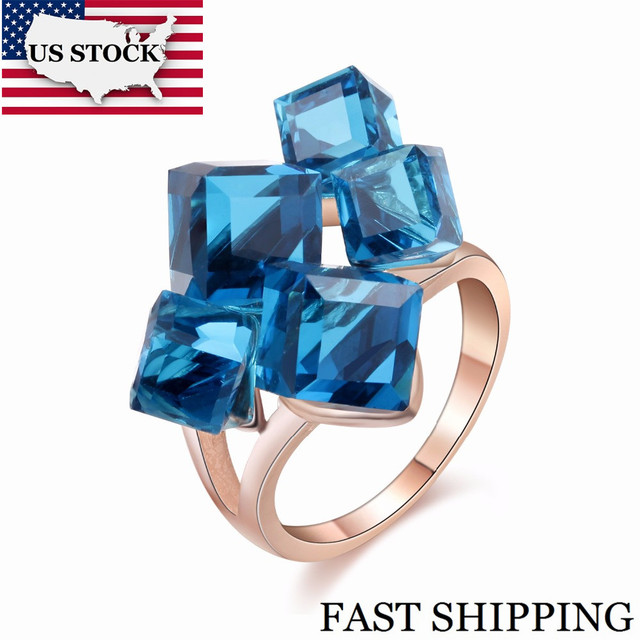 US STOCK Uloveido Ladies Crystal Engagement Cocktail Ring Large for Women with Blue Stones Rhinestones Jewellery Girl Gift GR123