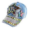 Promoção novo design personalizado crianças strass beleza estrela boné de beisebol denim artesanal de luxo tampas menino menina hip hop snapback