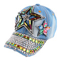 promotion new custom design children rhinestone star beauty baseball cap denim handmade luxury caps boy girl hip hop snapback