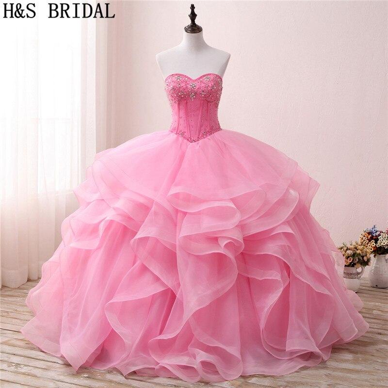 H & S robe de mariée rose robe de bal Quinceanera robes 2019 volants perles cristal robes de bal à plusieurs niveaux doux 15 robe robes de Debutante