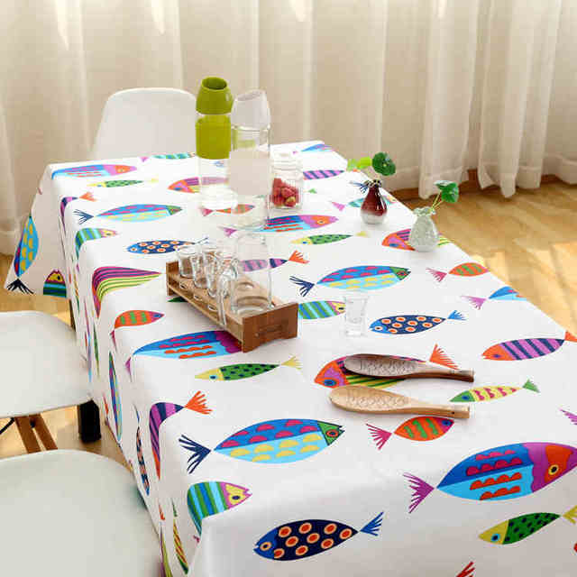 Cute Animal Fish Cloth Tablecloth Small Fresh Pastoral Simple Modern Cotton  Square Big Round Tablecloth Coffee