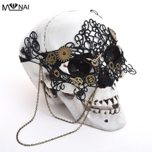 Vintage Steampunk Gear Clock Wheel Mask Handmade Gothic Victorian Lace Lolita Retro Accessories Cosplay