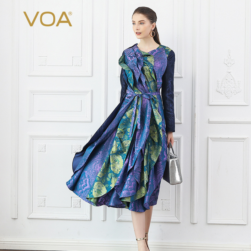 VOA Silk Jacquard Runway Dresses Art Design Petal Dress Bow Belt Ruffles Autumn Long Sleeve Print Vintage Elegant Ladies A10033