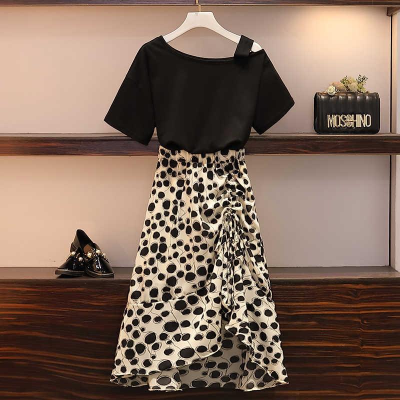 Женский комплект из 2 предметов, большой размер, модная черная или красная футболка + леопардовая юбка 4XL