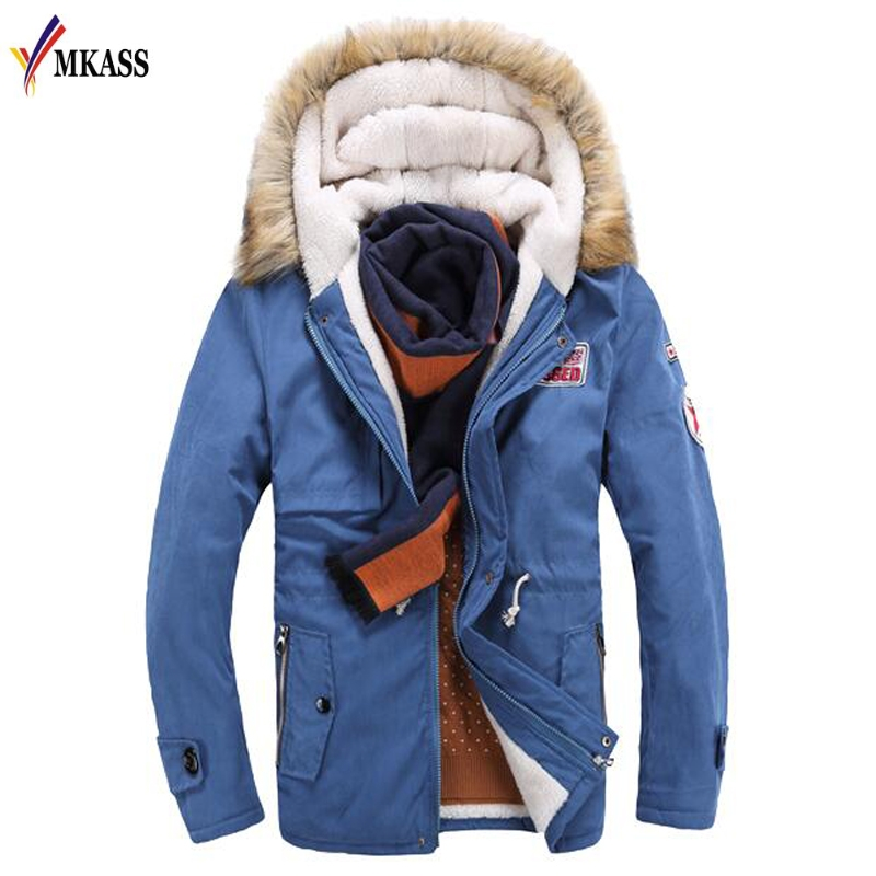 MKASS Hot Selling Autumn Winter Long Parka Men Casual Slim Fit Hood Winter Jackets Mens Lovers Coat Size M-3XL