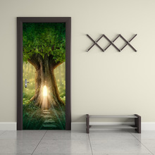 цена на Fantasy Tree House In Forest Tv Backdrop Wall Stickers Diy Removable Door Sticker Sofa Living Room Decorate Poster Home Decor