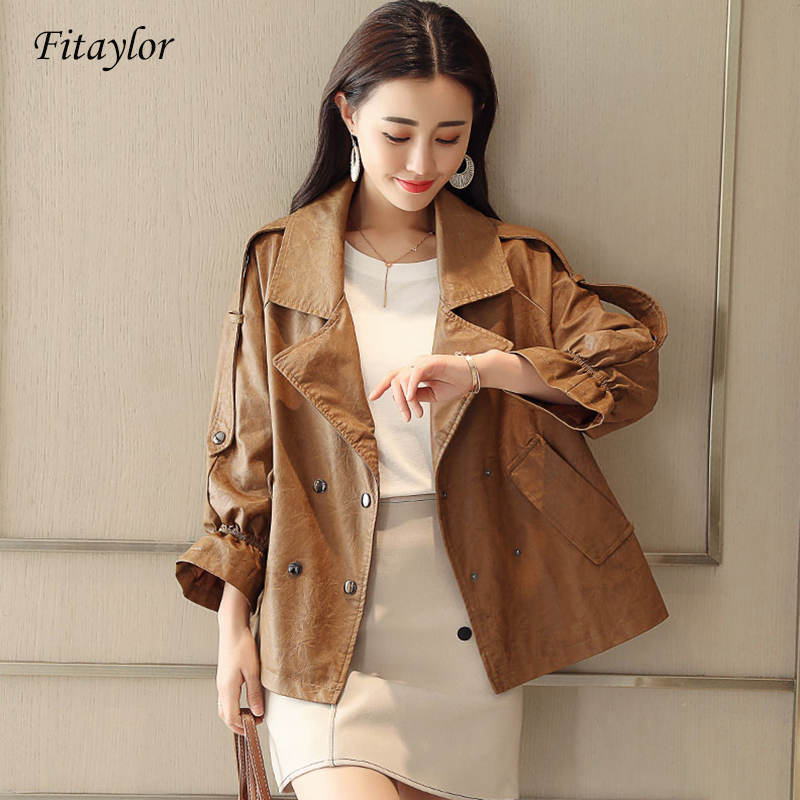 Fitaylor Women Faux   Leather   Jacket Spring Vintage Biker Coat Double Breasted Pu   Leather   Jacket Lady High Street   Leather   Coat
