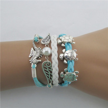 1pcs DIY Manual Hand-woven Leather Charm Silver Cute Turtle Seahorse Wings Bracelet