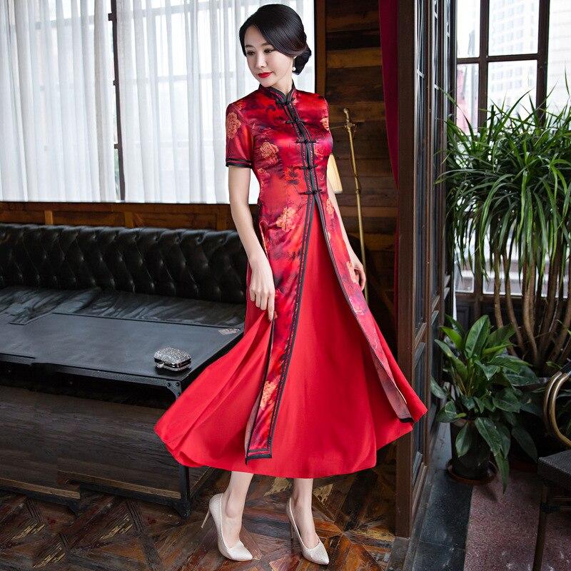 Moda chiński styl długo Cheongsam New Arrival damska sukienka ze sztucznego jedwabiu elegancki Qipao Vestidos rozmiar S M L XL XXL XXXL 1275684 w Suknie od Odzież damska na  Grupa 3