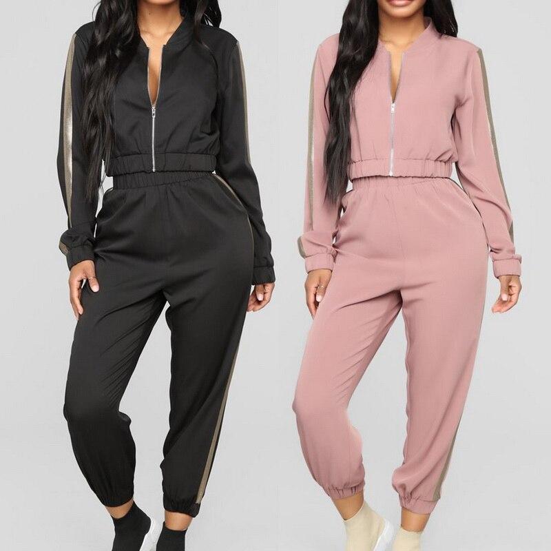 Women's Sports Suit 2019 Casual Tracksuit Patchwork 2 Pcs Running Set Stripe Pant Zipper Top Yoga Sets Sweatshirt Gym Clothing