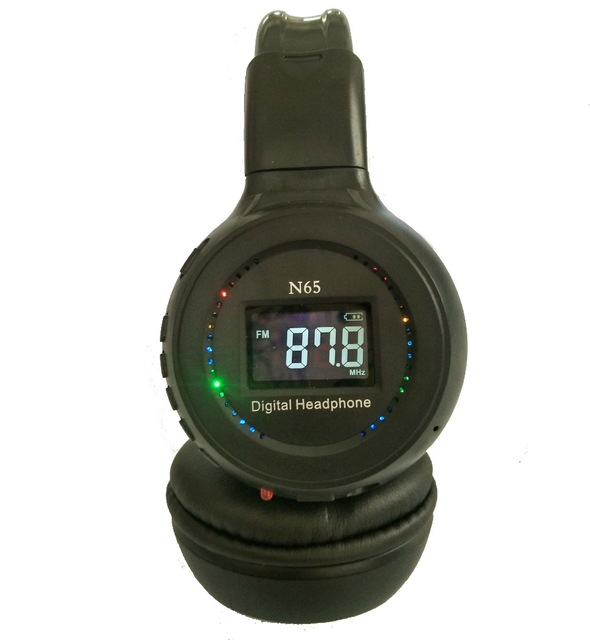 bilder für Schwarz Drahtlose Kopfhörer N65 Unterstützt Speicherkarte mit FM Radio und Bildschirm Eingebaute Batterie MP3 Stirnband Kopfhörer