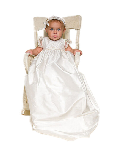 BABY WOW White Baby Girl Christening Gowns + Headdress 1 Year Birthday Dress Elegant Newborn - 2 Years Old Girls 80140