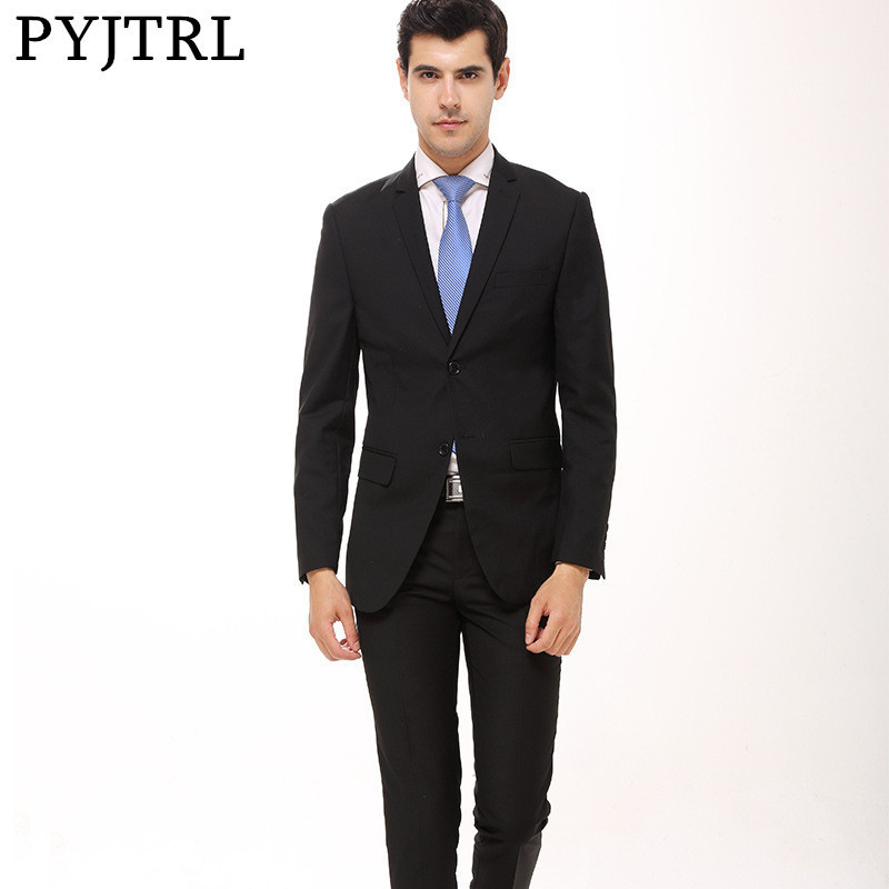 PYJTRL Mens Clothing Black Navy Blue 2 Pcs Bussiness Formal Suits With Pants Male Work Cothes Costume Homme Wedding Suit