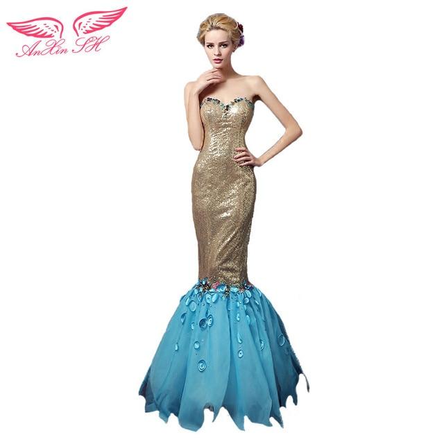Anxin Sh Blue Tail Trumpet Evening Dresses Fish Princess Champagne Mermaid