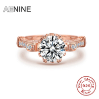 New Fasion Jewelry Real 925 Sterling Silver Ring Rose Gold Color Engagement Wedding Rings 5A Cubic