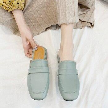 Zapatos Mulas Planas | Mulas De Punta Cerrada Con Nudo De Mariposa Zapatos De Verano Para Mujer Sandalias Con Pasador PVC Loafer Sandalias Planas De Punta Cuadrada Con Tacón Plano Para Mujer