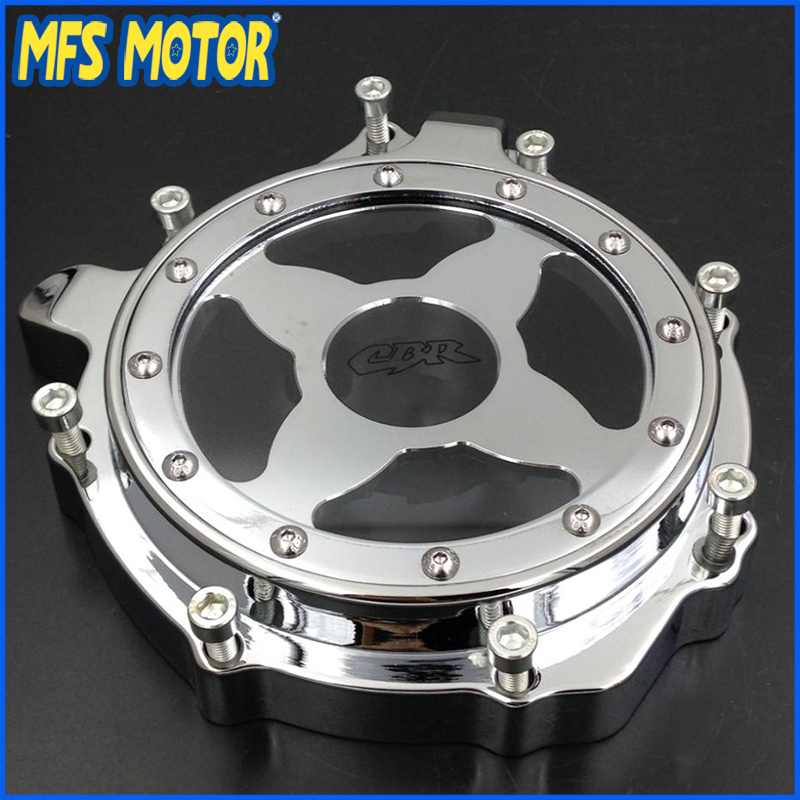 Freeshipping Motorcycle Left  Engine Stator cover see through For Honda CBR1000RR 2004 2005 2006 2007 Chrome aftermarket free shipping motorcycle parts engine stator cover for honda cbr1000rr 2004 2005 2006 2007 left side chrome