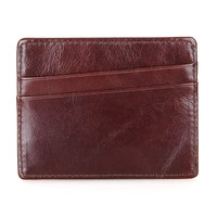 J.M.D New Men's Slim Small Vintage Genuine Leather Money Clipes ID Credit Card Holder 8101Q