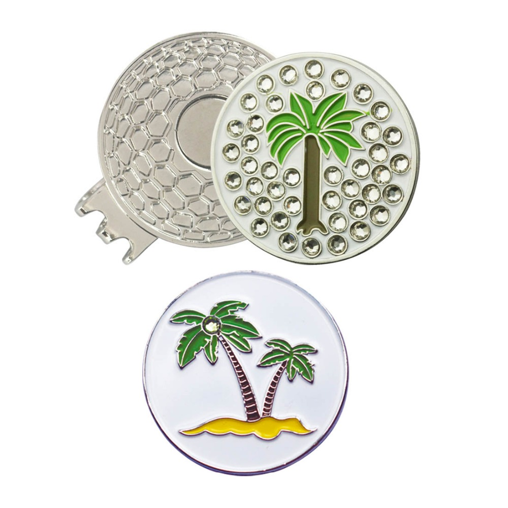 PINMEI Crystal Palm Tree Golf Ball Mark With Magnetic Hat ClipS Or Cap ClipS