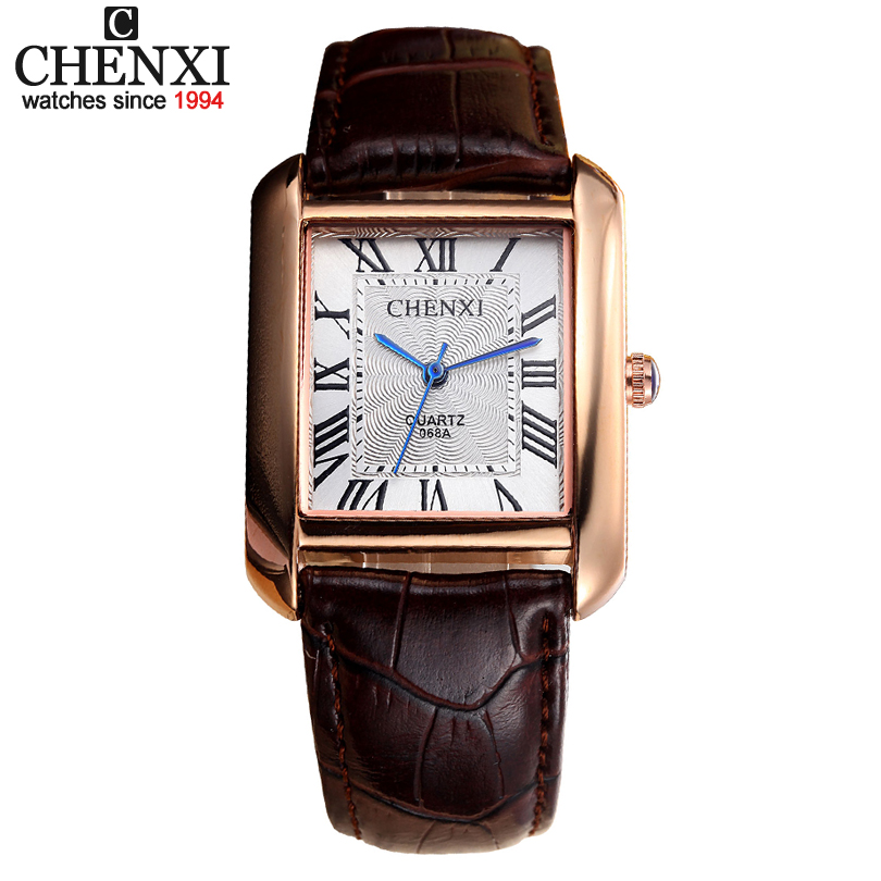 New Famous Brand CHENXI Men's watch Black & Brown Series Leather Strap, Simple And Elegant Square Dial Men Boys Quartz Watches almost famous new black tough love sweater msrp $49 00