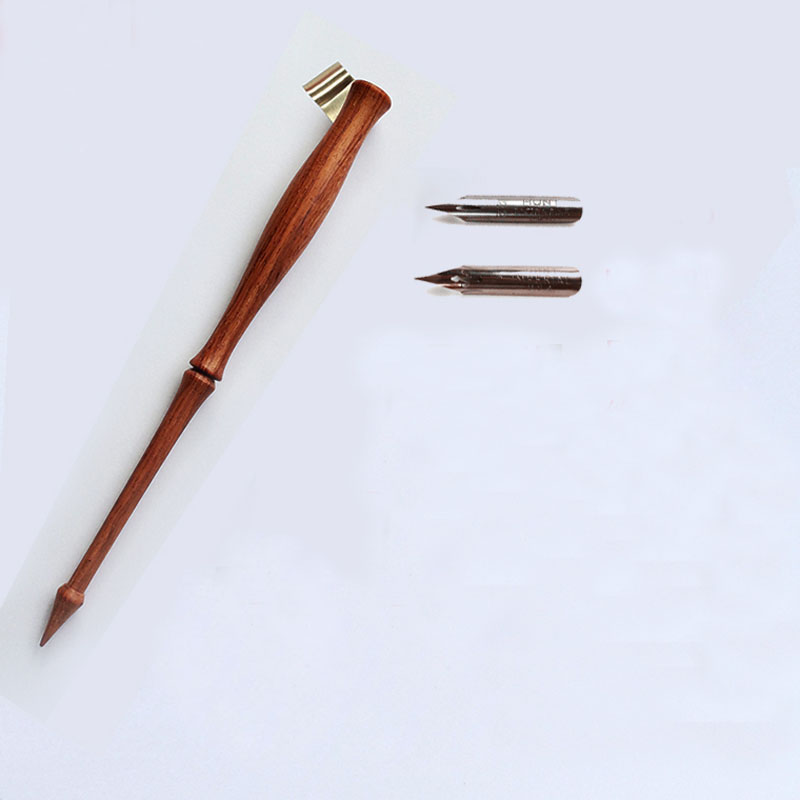 High Quality Handmade Rosewood Oblique Calligraphy Pen Holder with 2 Nibs English Copperplate Script Antique Dip Pen Set