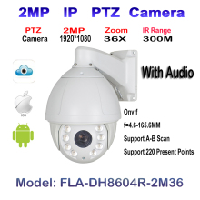 2MP Audio 1080P HD, 4.6~165.6mm, 36X Optical Zoom, IR Laser 300M, PTZ Outdoor IP Security High Speed Dome Camera WDR ONVIF IP66