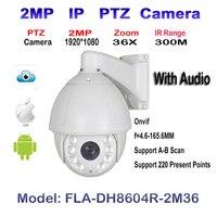 Audio 2MP 1080 P HD, 4.6 ~ 165.6mm, 36X Zoom Optyczny, Laser IR 300 M, Bezpieczeństwo High Speed Dome PTZ IP Zewnętrzna Kamera WDR ONVIF IP66
