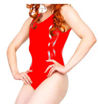 100% Latex Rubber Gummi Leotard Mould Body Swimsuit Red Latex Bodysuit