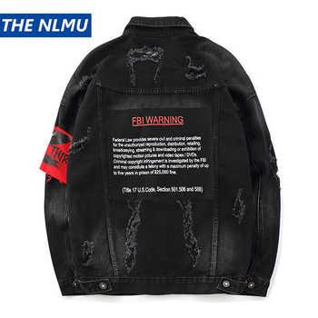 US Size Black Hole Denim Jackets Men Jeans Coat Hip Hop Jacket Streetwear 2019 Spring Autumn Black Jacket for Male HW123 - DISCOUNT ITEM  25% OFF All Category