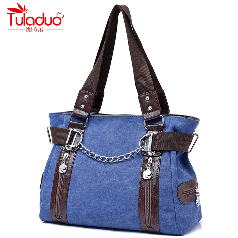 2017 Summer Canvas Bags Chains Women Handbags Fashion Double Zipper Women Shoulder Bags Large Capacity Patchwork LadiesTote Bag