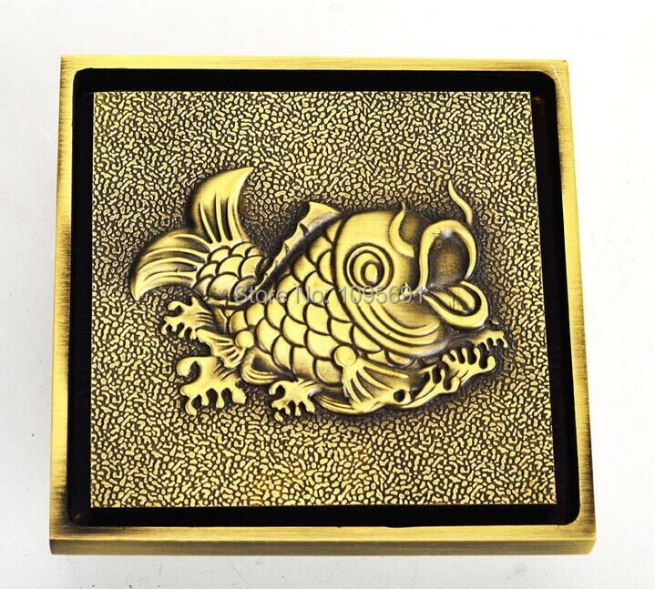 ФОТО European style advanced artistical  classical 3 inch 100mm*100mm solid brass fittings antique brass Floor drain