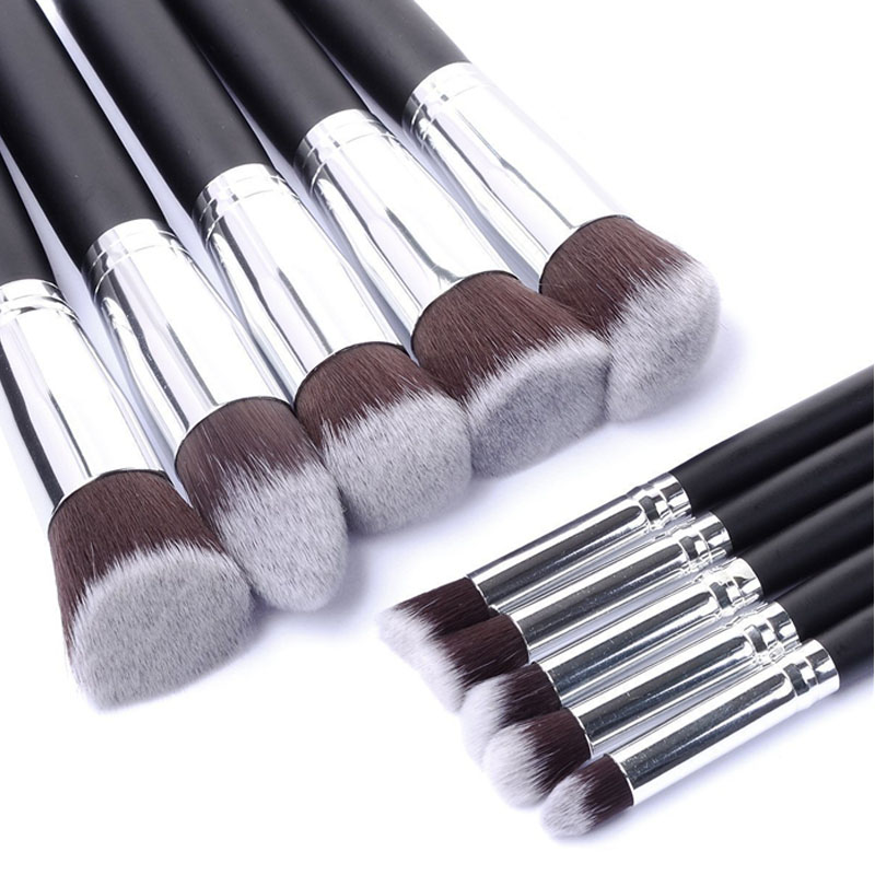 Pro New 10Pcs Silver Black Pink Cosmetic Makeup Brushes Set Contour Brush Eye Eyebrow Shadow Makeup Brush Makeup Tools Kit pro 2 pcs black