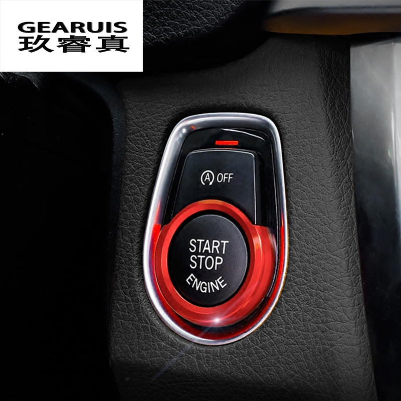 Car Styling Key Start Button Decorative Frame Interior Cover stickers Trim For BMW 1/2/3 series F20 F21 F30 X1 F48 Accessories f20 carbon fiber replace car mirror cover cap trim for bmw f20 auto styling 2012 2014