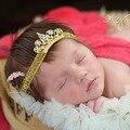 Nueva corona bebé diadema para el pelo accesorios chica moda cristal y de la perla de la venda recién nacido apoyo de la foto 6 unids