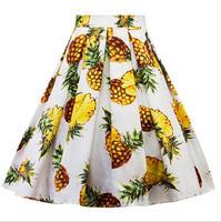 England Style 2018 Fashion new women Retro Vintage Woman Pineapple cherry fruit print skirt Casual Hepburn Woman A Line Skirt