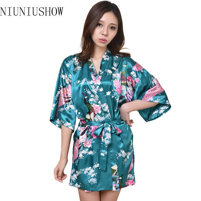 Wholesale Silk Wedding Robes High Quality Negligee 2015 New Dressing Gowns For Women Sleepwear Kimono Kimono Floral Robe S-3XL