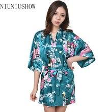 Wholesale Silk Wedding Robes High Quality Negligee 2015 New Dressing Gowns For Women Sleepwear Kimono Kimono Floral Robe S-3XL