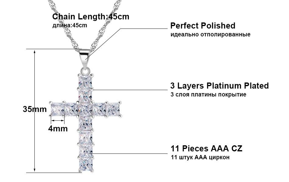 AAA Cubic Zircon Cross Pendant Necklace